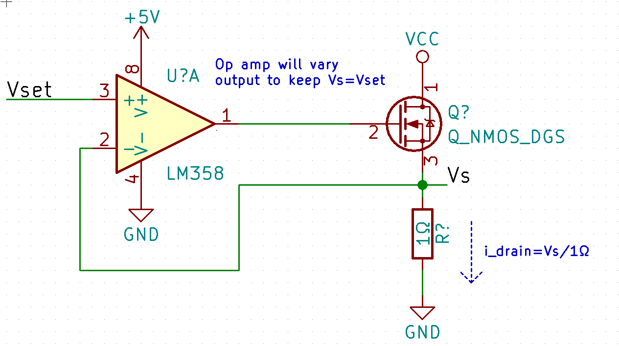 Mini Circuit 1 Constant Current Sink Learn Cnc Series Advanced Circuits The Picture Hopefully Explains Itself There Is A Bit Of Problem Here However At 10a Voltage Across Sense Resistor Would Need To Be 10v We